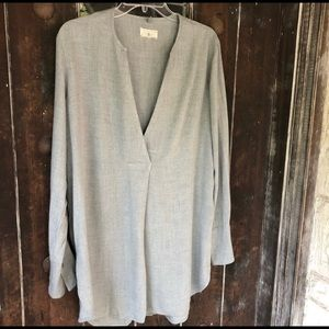 Lou & Grey Split Neck Tunic Lagenlook Gray